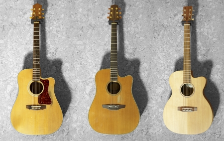 3 classic guitars hanging on a wooden wall Stock Photo - 16920869