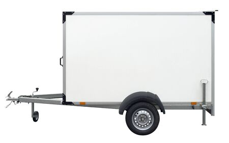 two wheel: a white trailer isolated on white back