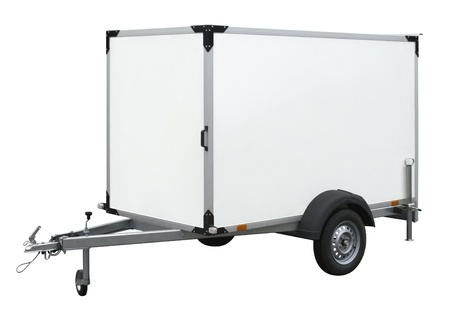 a two wheeled vehicle: a white trailer isolated on white back