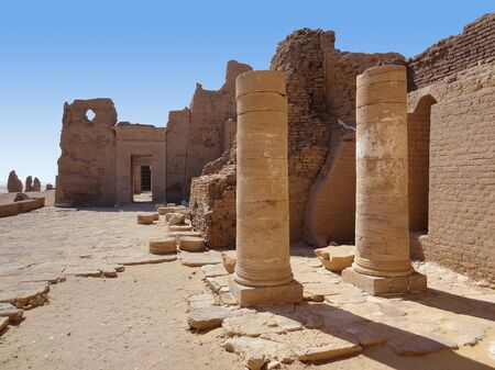 ruins at Qasr Dusch, a archaeological site in Kharga Oasis in Egypt