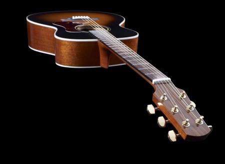 Acoustic Guitar in black back Stock Photo - 17036653
