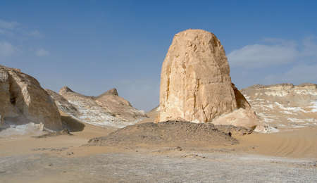 the white desert with rock formation in Egypt photo