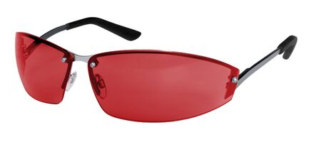 accouterment: studio photography of red sunglasses with thin frame isolated on white Stock Photo