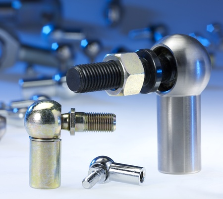 swivel: blue illuminated spherical joints in light back Stock Photo