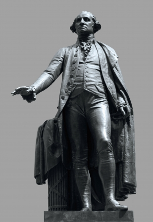 federal hall: statue of George Washington at Federal Hall in New York in grey back