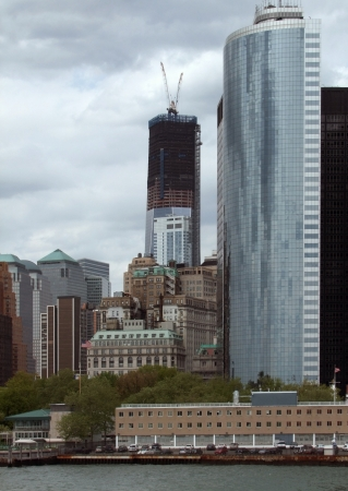 allegory painting: scenery around the World Trade Center site in New York  USA  Stock Photo