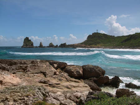 guadeloupe: idyllic coastal scenery on a caribbean island named Guadeloupe Stock Photo