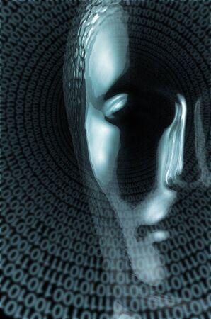 astral body: tema de la ciencia futurista que muestra una cabeza transparente reflectante humana hecha de cristal y un mont�n de c�digo binario espiral en fondo negro