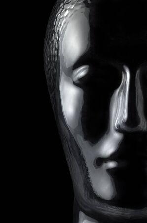 astral body: transl�cido cabeza humana reflexiva de cristal en fondo negro
