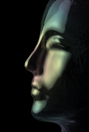 futuristic science theme showing a opalescent and translucent reflective human head made of glass in black back photo