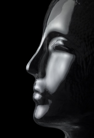 translucent reflective human head made of glass in black back Stock Photo - 18855822