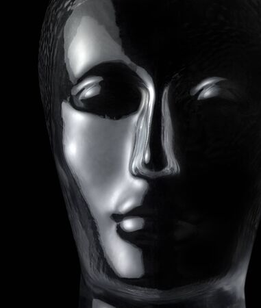 translucent reflective human head made of glass in black back Stock Photo - 18855833