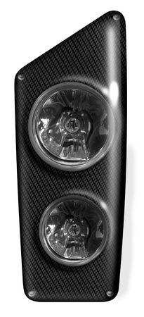 headlamp: symbolic digital realistic illustration of a modern headlamp in white back