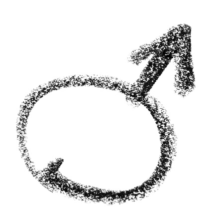 crayon painted male symbol in white back
