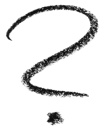 eye catcher: crayon painted question mark in white back