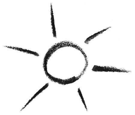 raspy: crayon painted sun or light symbol in white back