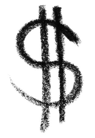 gruff: crayon painted dollar symbol in white back Stock Photo