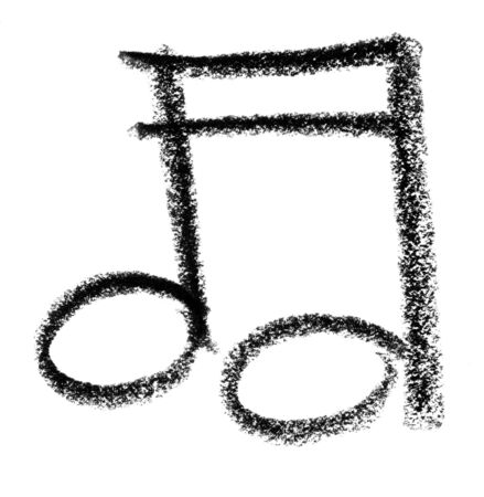 intonation: crayon painted musical note in white back