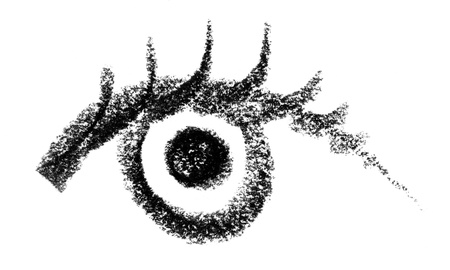 snappy: crayon painted eye in white back Stock Photo