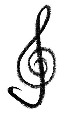 raspy: crayon-painted clef in white back