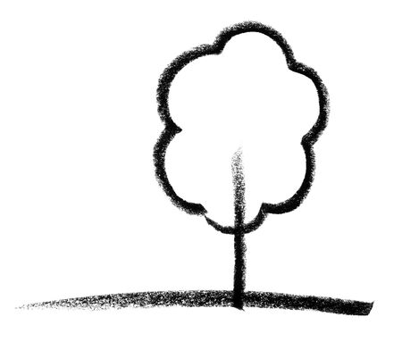 raspy: crayon-painted tree icon in white back