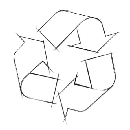 synonym: crayon illustration showing the recycling symbol as a silhouette-like sketch in white back