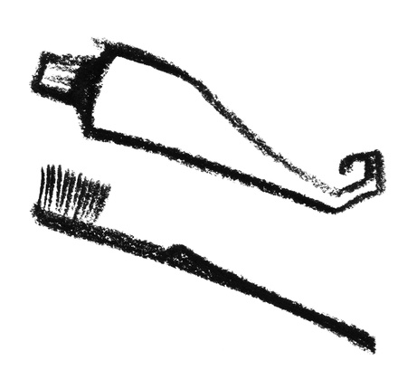 synonym: crayon-sketched toothbrush and toothpaste illustration done by me Stock Photo