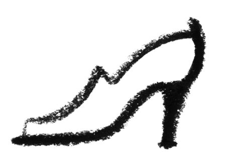 snappy: crayon-sketched lady«s shoe