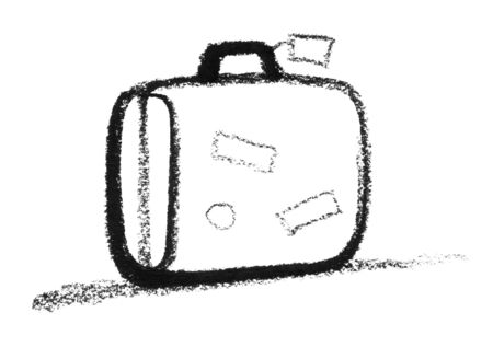 eye catcher: crayon-sketched suitcase Stock Photo