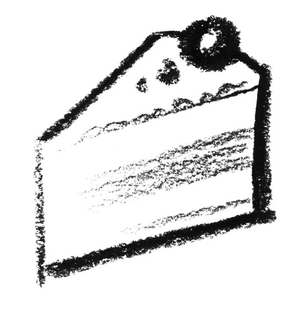 raspy: crayon-sketched piece of cake