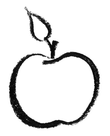 raspy: crayon-sketched apple in white back Stock Photo