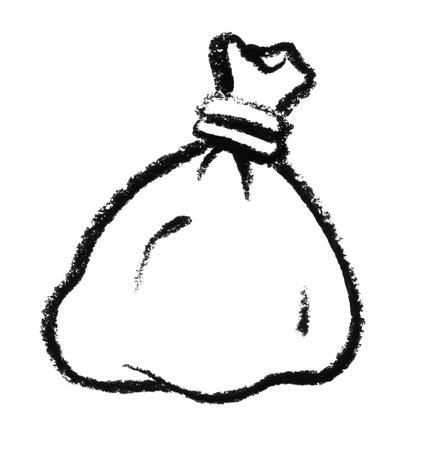 raspy: crayon-sketched bag