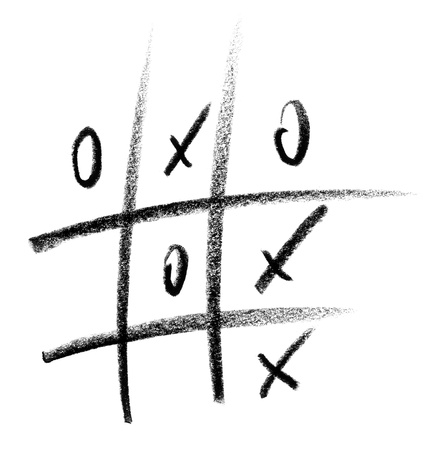 toe: crayon-sketched Tic Tac Toe playing field for symbolic gambling Stock Photo