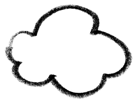 cloudshape: crayon-sketched cloud.shape in white back