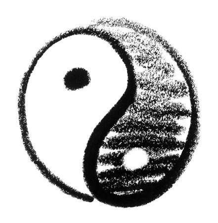 raspy: crayon-sketched Yin and Yang symbol Stock Photo