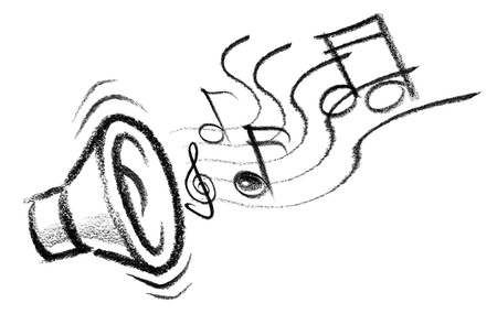 raspy: crayon-sketched illustration of a speaker with musical notes Stock Photo
