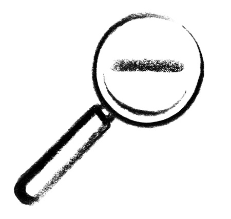 snappy: crayon-sketched illustration of a magnifying glass with minus mark in it