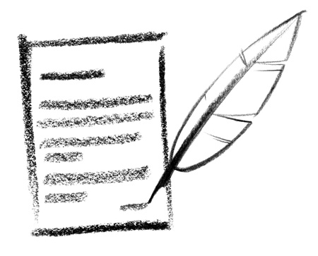 crayon-sketched illustration of a written information and quill illustration