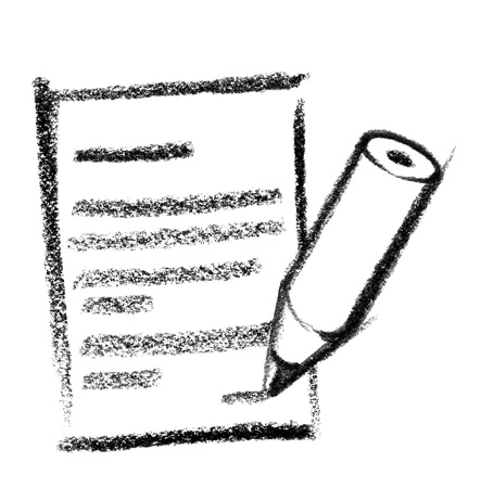 gruff: crayon-sketched illustration of a letter and pencil