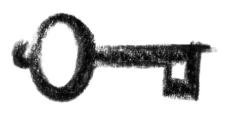 snappy: crayon-sketched illustration of a key Stock Photo