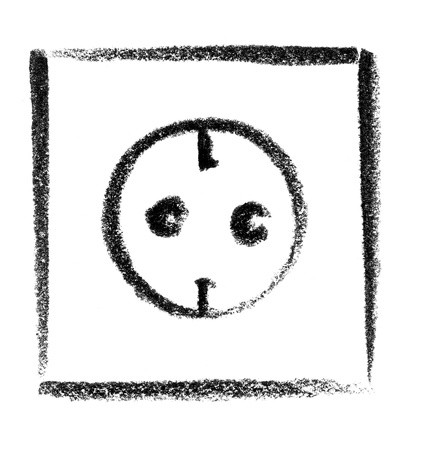 eye socket: crayon-sketched illustration of a electrical socket
