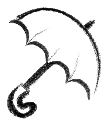 raspy: crayon-sketched illustration of a open umbrella
