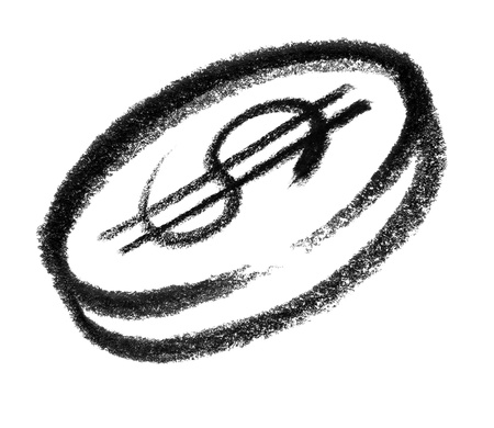 raspy: crayon-sketched illustration of a dollar coin Stock Photo