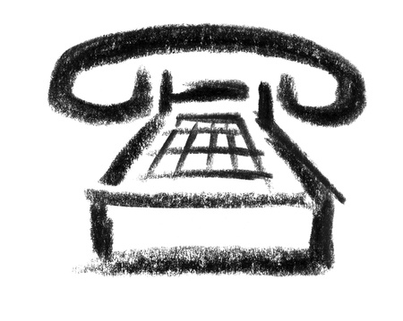 raspy: crayon-sketched illustration of a telephone