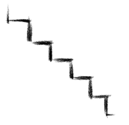 raspy: crayon-sketched illustration of a symbolic staircase
