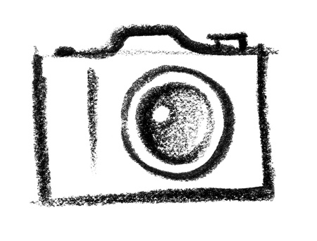 peppy: crayon-sketched illustration of a camera Stock Photo