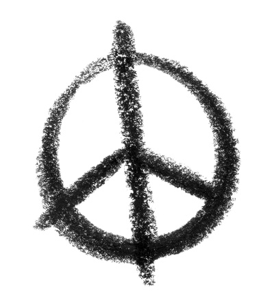 nonviolent: crayon-sketched illustration of a peace sign