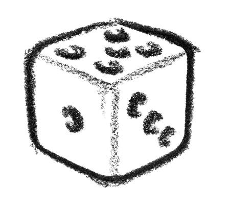 raspy: crayon-sketched illustration of a gambling die