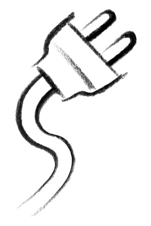 mains: crayon-sketched illustration of a plug and cable