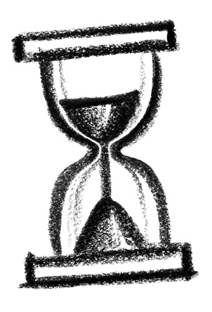 crayon-sketched illustration of a hourglass illustration